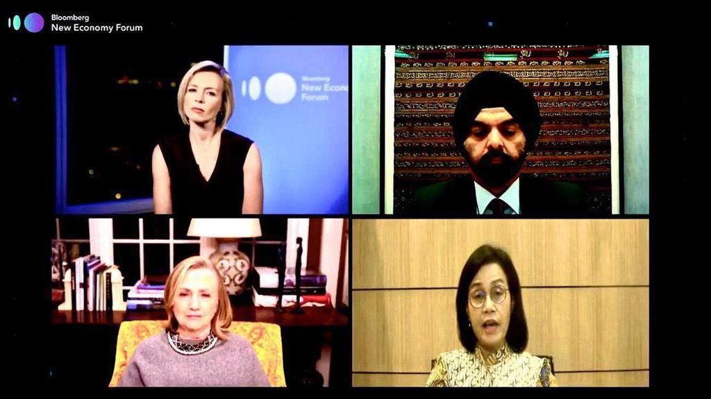 Begini Potret Sri Mulyani Virtual Meeting dengan Hillary Clinton
