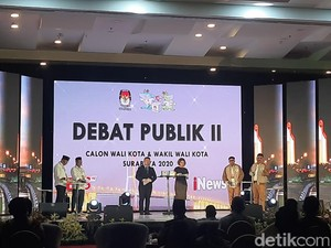 Tak ada Arak-arakan, Dua Paslon Tiba di Lokasi Debat Kedua Pilwali Surabaya