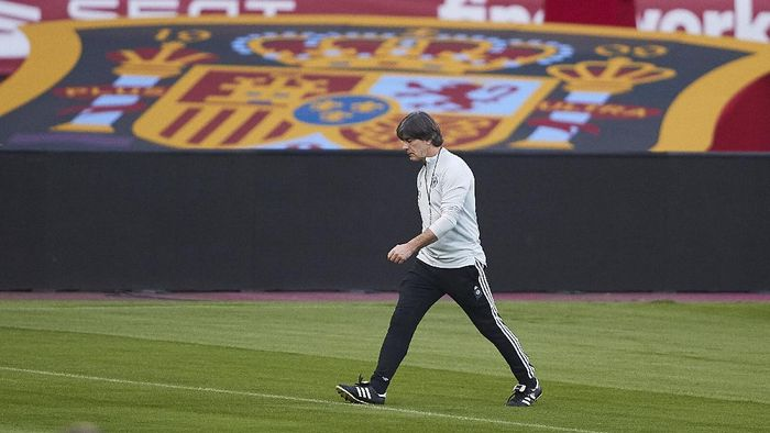 SEVILLE, SPAIN - NOVEMBER 16: Joachim Low, manager of Germany looks on during a Germany training session ahead of the UEFA Nations League match against Spain at Estadio de La Cartuja on November 16, 2020 in Seville, Spain. (Photo by Fran Santiago/Getty Images)