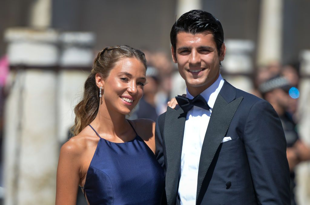 MADRID, SPAIN - NOVEMBER 07: Alvaro Morata and wife Alice Campello  present the new 'LG G8X ThinQ' smartphone on November 07, 2019 in Madrid, Spain. (Photo by Carlos Alvarez/Getty Images)