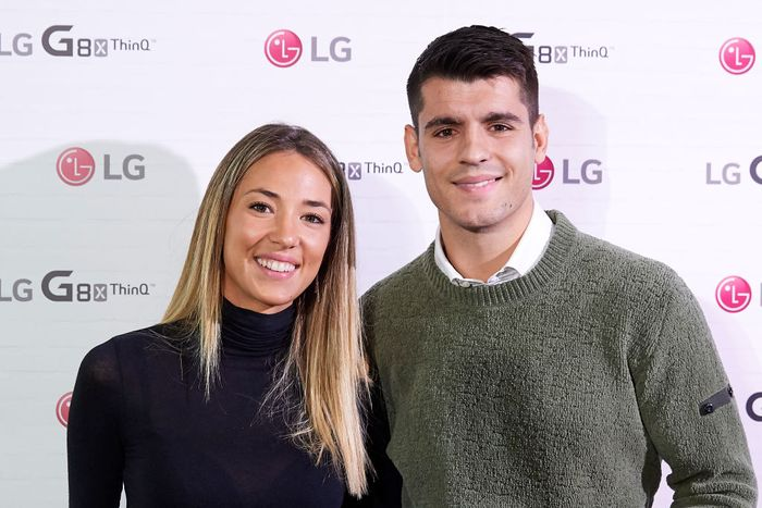 MADRID, SPAIN - NOVEMBER 07: Alvaro Morata and wife Alice Campello  present the new LG G8X ThinQ smartphone on November 07, 2019 in Madrid, Spain. (Photo by Carlos Alvarez/Getty Images)