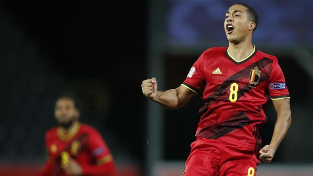 Belgium's Youri Tielemans celebrates after scoring the opening goal during the UEFA Nations League soccer match between Belgium and Denmark at the King Power stadium in Leuven, Belgium, Wednesday, Nov. 18, 2020. (AP Photo/Francisco Seco)