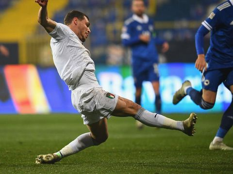SARAJEVO, BOSNIA AND HERZEGOVINA - NOVEMBER 18: Andrea Belotti of Italy scores the opening goal during the UEFA Nations League group stage match between Bosnia-Herzegovina and Italy at Bilino Polje Stadium on November 18, 2020 in Zenica, Bosnia and Herzegovina. (Photo by Claudio Villa/Getty Images)
