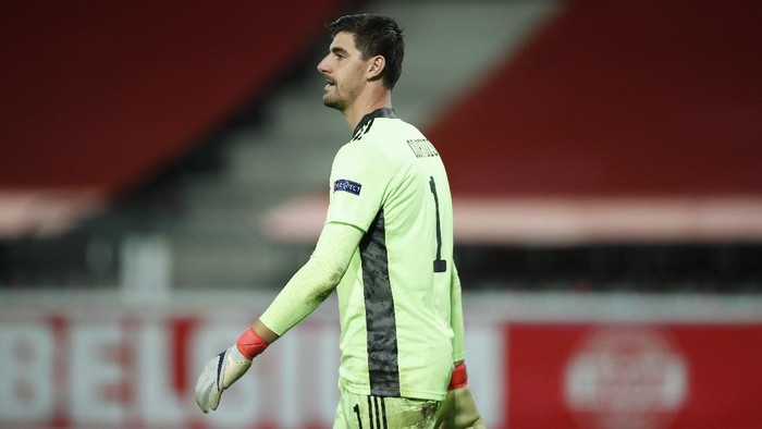 Belgium goalkeeper Thibaut Courtois during the UEFA Nations League soccer match between Belgium and Denmark at the King Power stadium in Leuven, Belgium, Wednesday, Nov. 18, 2020. (AP Photo/Francisco Seco)