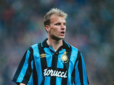 Dutch footballer Dennis Bergkamp, of Inter Milan, during the UEFA Cup Final 2nd Leg against Salzburg at the Stadio Giuseppe Meazza, Milan, 11th May 1994. Inter won the leg1-0 and the final 2-0. (Photo by Shaun Botterill/Getty Images)