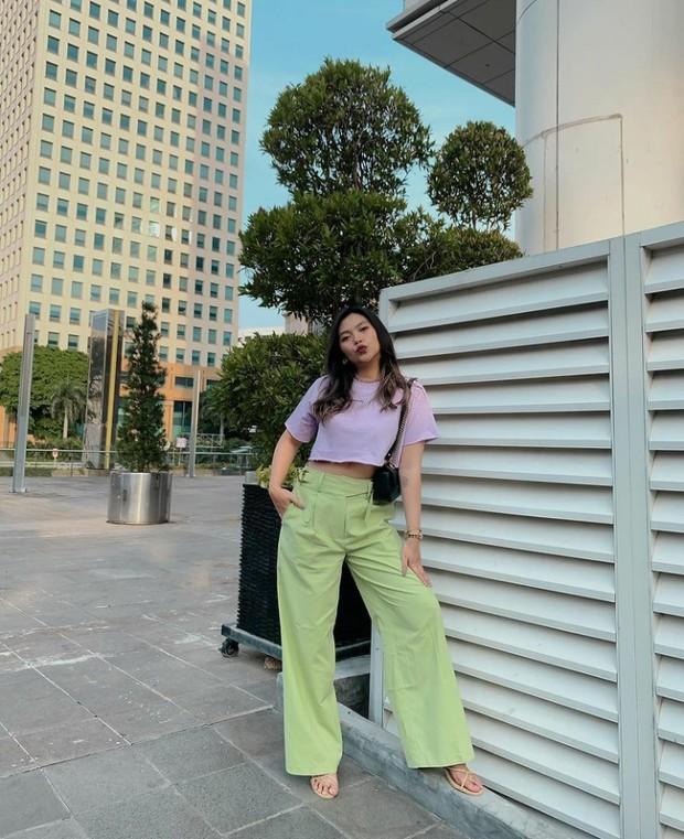 inspirasi fashion all about lilac ala influencer Neva Indriany