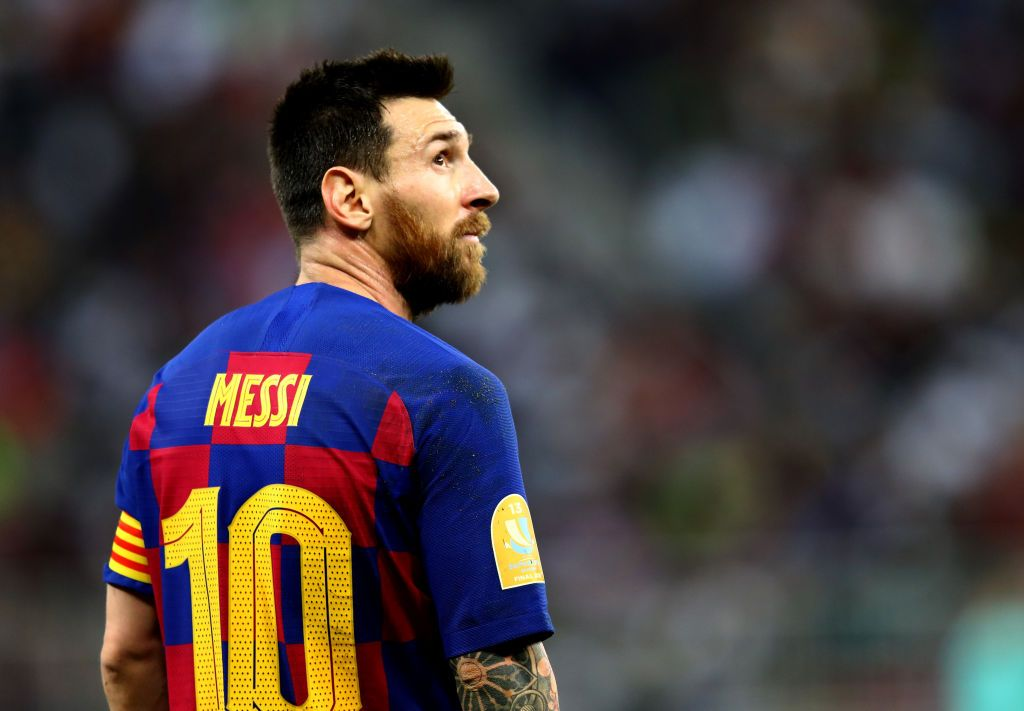 JEDDAH, SAUDI ARABIA - JANUARY 09:  Lionel Messi of Barcelona looks on during the Supercopa de Espana Semi-Final match between FC Barcelona and Club Atletico de Madrid at King Abdullah Sports City on January 09, 2020 in Jeddah, Saudi Arabia. (Photo by Francois Nel/Getty Images)
