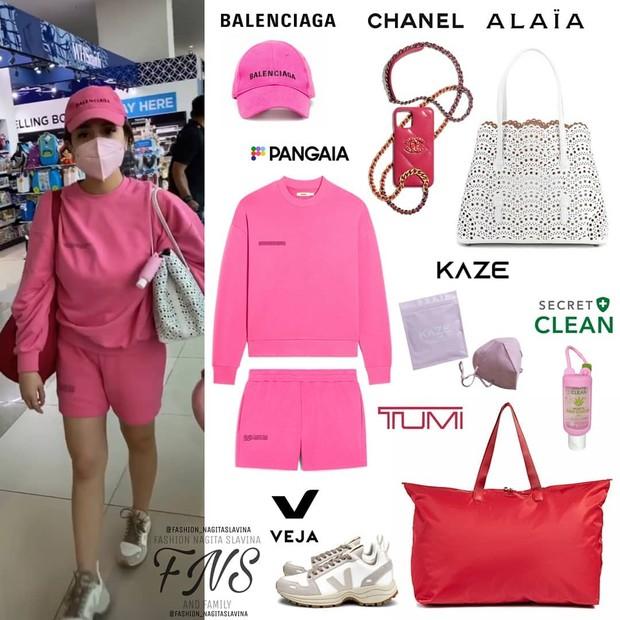 Nagita Slavina mengenakan setelan berwarna pink yang harganya fantastis/instagram.com/fashion_nagitaslavina