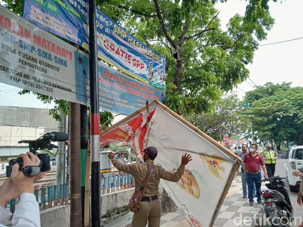 Baliho Habib Rizieq Syihab di Kota Semarang Juga Diturunkan