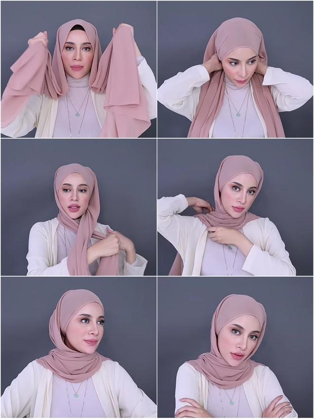 Hijab pashmina simpel ala Aghnia Punjabi.
