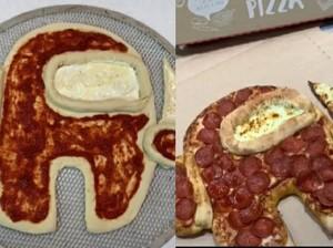Lucu! Pizza Ini Bentuknya Mirip Karakter Impostor Among Us