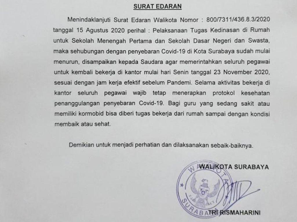 Mulai Senin Besok Guru SD dan SMP di Surabaya Masuk Sekolah Kembali