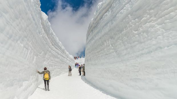 Tateyama, Japan - May 2, 2014: Unidentified tourists  visit at snow wall on Tateyama Kurobe Alpine Route,  Japanese Alps in Tateyama, Japan