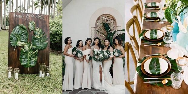 Kamu bisa manfaatkan daun palem dan nuansa merah muda untuk memiliki tema tropical wedding.