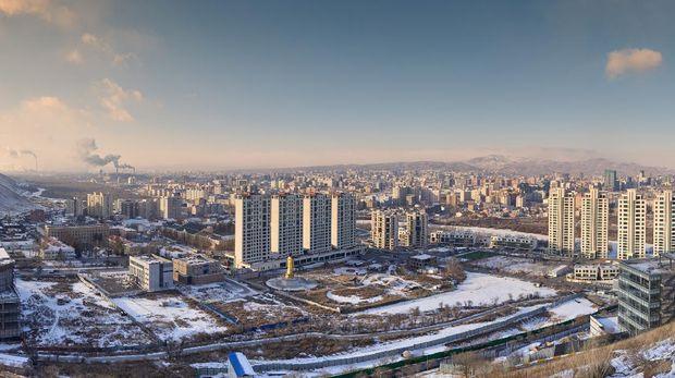 Panoramic view of Ulaanbaatar at sunset on a cold winter day. Ulaanbaatar. Mongolia.