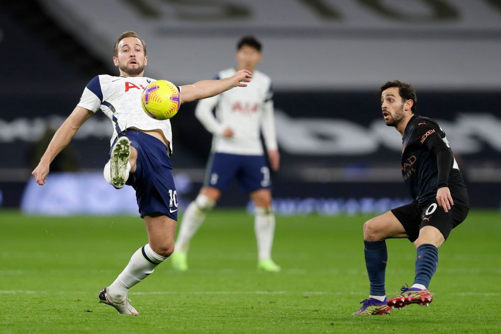 LONDON, ENGLAND - NOVEMBER 21: Harry Kane of Tottenham Hotspur scores a goal which is then disallowed during the Premier League match between Tottenham Hotspur and Manchester City at Tottenham Hotspur Stadium on November 21, 2020 in London, England. Sporting stadiums around the UK remain under strict restrictions due to the Coronavirus Pandemic as Government social distancing laws prohibit fans inside venues resulting in games being played behind closed doors. (Photo Neil Hall - by Pool/Getty Images)