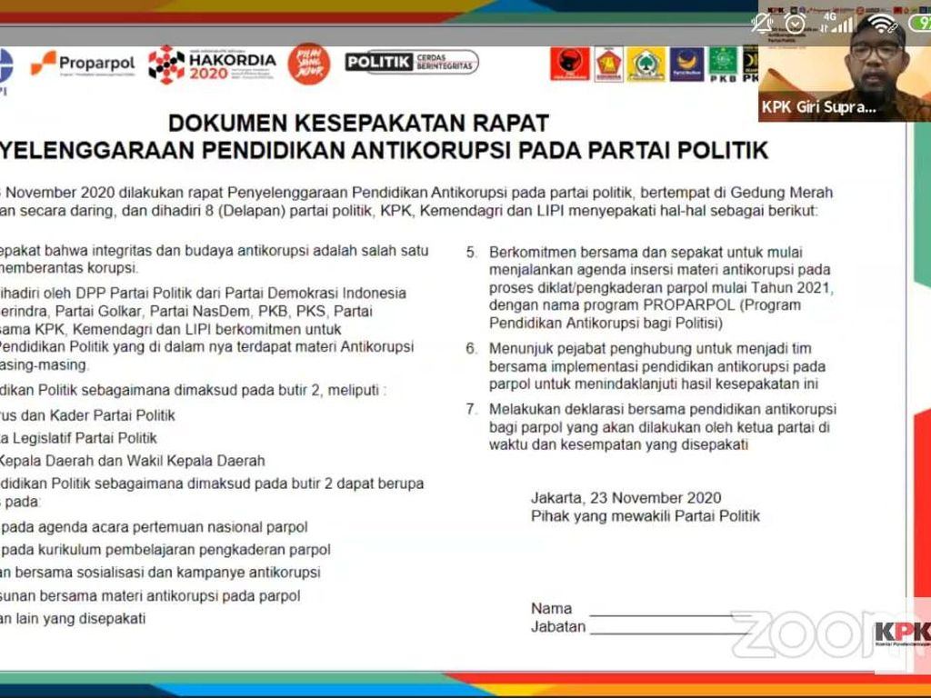 Gandeng 8 Parpol, KPK Bikin Pendidikan Antikorupsi Bernama Proparpol