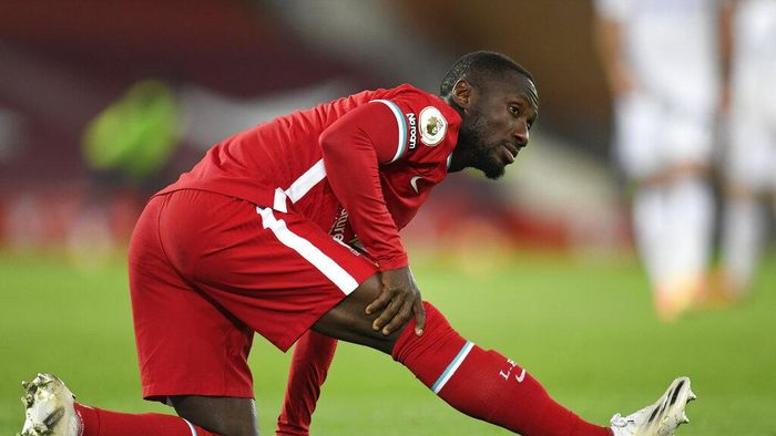 Liverpools Naby Keita sits during the English Premier League soccer match between Liverpool and Leicester City at Anfield stadium in Liverpool, England, Sunday, Nov. 22, 2020. (Peter Powell/Pool via AP)