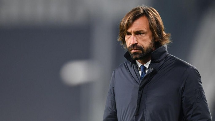 TURIN, ITALY - NOVEMBER 24: Andrea Pirlo, Head Coach of Juventus watches on prior to the UEFA Champions League Group G stage match between Juventus and Ferencvaros Budapest at Allianz Stadium on November 24, 2020 in Turin, Italy. Sporting stadiums around Italy remain under strict restrictions due to the Coronavirus Pandemic as Government social distancing laws prohibit fans inside venues resulting in games being played behind closed doors. (Photo by Valerio Pennicino/Getty Images)