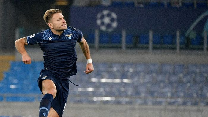 ROME, ITALY - NOVEMBER 24: Ciro Immobile of SS Lazio celebrates a third goal a penalty during the UEFA Champions League Group F stage match between SS Lazio and Zenit St. Petersburg at Stadio Olimpico on November 24, 2020 in Rome, Italy. (Photo by Marco Rosi - SS Lazio/Getty Images)