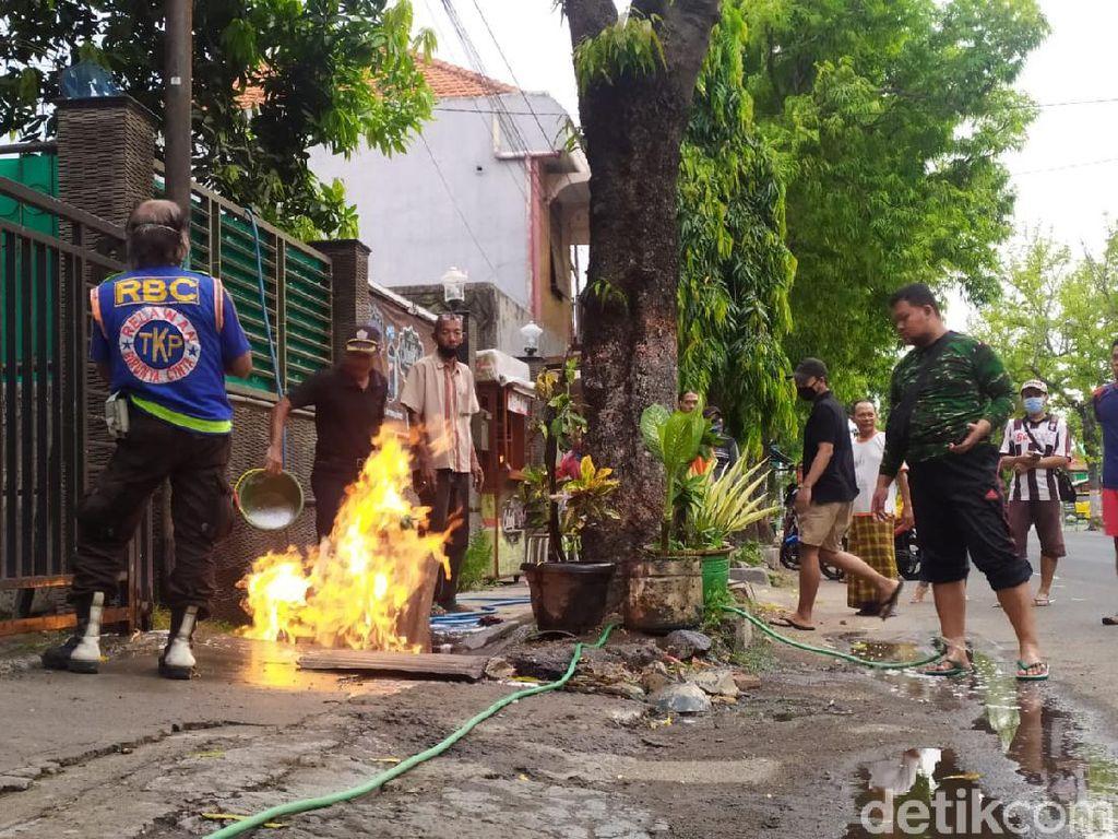 Pipa Gas PGN di Kota Mojokerto Bocor Semburkan Api, Warga Panik