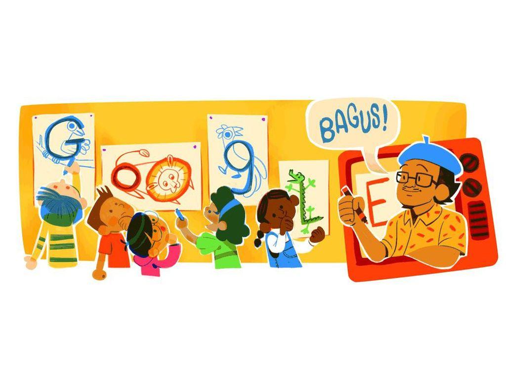 Google Doodle Kenang Pak Tino Sidin, Legenda Guru Gambar Anak Indonesia