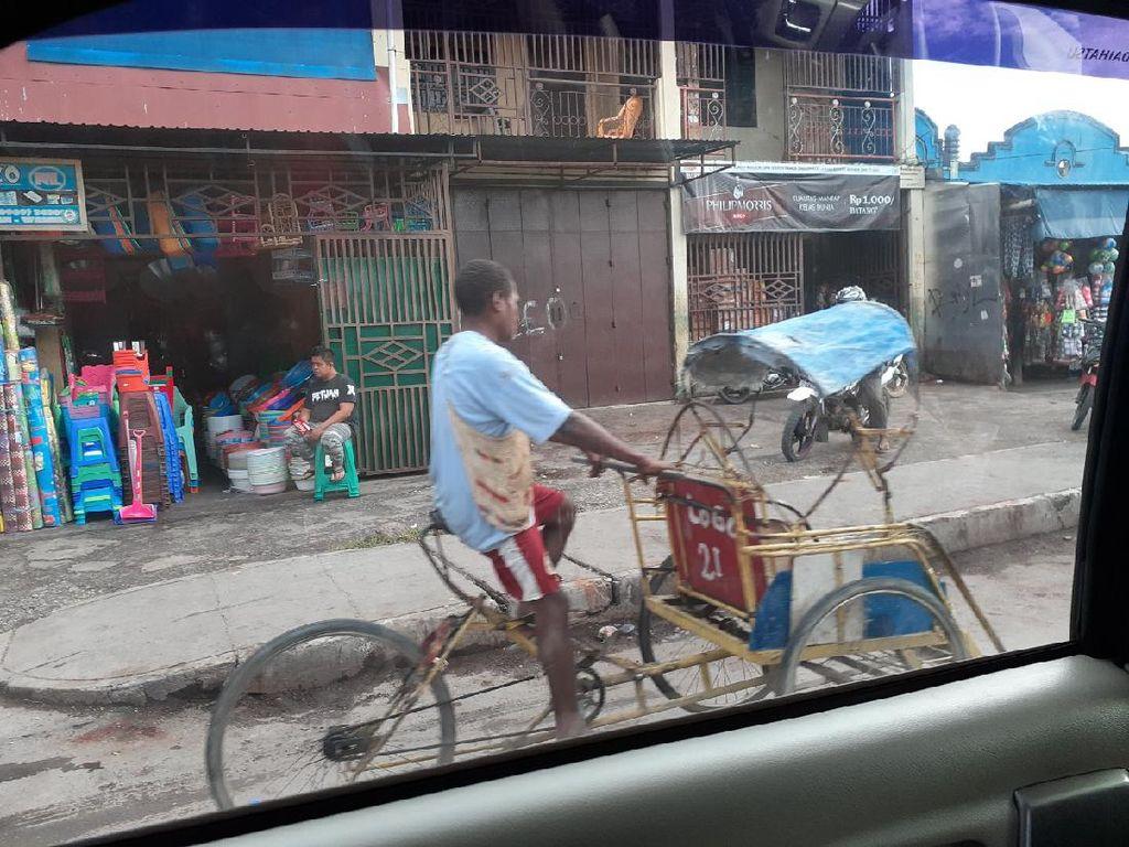 Ternyata Becak Jadi Transportasi Andalan di Wamena Papua