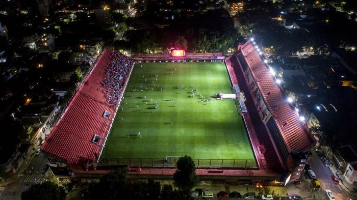 BUENOS AIRES, ARGENTINA - NOVEMBER 25: Fireworks are seen over the stadium of Argentinos Juniors stadium during a tribute to Diego Maradona former football star who died today, at Diego Armando Maradona Stadium on November 25, 2020 in Buenos Aires, Argentina. Argentinos Juniors was the club where Argentinian football  player Diego Maradona made his professional debut at the age of 15. Diego Maradona, considered one of the biggest football stars in history, died at 60 from a heart attack on Wednesday in Buenos Aires.  (Photo by Getty Images/Getty Images)