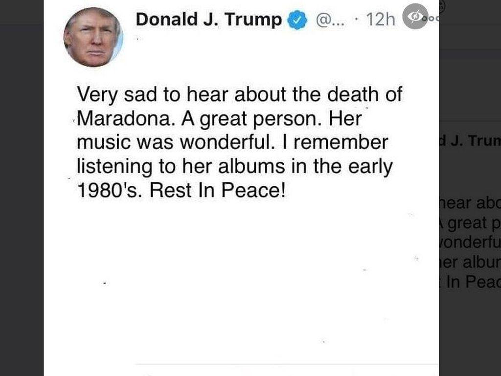 Trump Salah Tweet Maradona Meninggal Jadi Madonna, Ini Faktanya