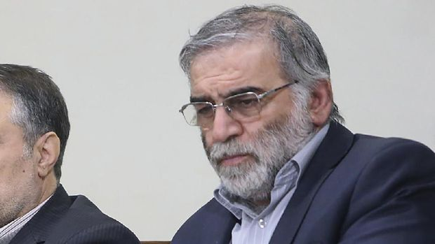 In this picture released by the official website of the office of the Iranian supreme leader, Mohsen Fakhrizadeh, right, sits in a meeting with Supreme Leader Ayatollah Ali Khamenei in Tehran, Iran, Jan. 23, 2019. Fakhrizadeh, an Iranian scientist that Israel alleged led the Islamic Republic's military nuclear program until its disbanding in the early 2000s was killed in a targeted attack that saw gunmen use explosives and machine gun fire Friday Nov. 27, 2020, state television said. Two others are unidentified. (Office of the Iranian Supreme Leader via AP)
