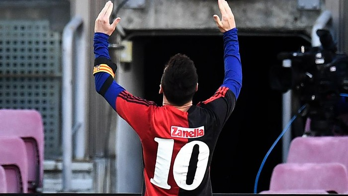 BARCELONA, SPAIN - NOVEMBER 29: Lionel Messi of Barcelona celebrates after scoring their sides fourth goal while wearing a Newells Old Boys shirt with the number 10 on the back in memory of former footballer, Diego Maradona, who recently passed away during the La Liga Santander match between FC Barcelona and C.A. Osasuna at Camp Nou on November 29, 2020 in Barcelona, Spain. Sporting stadiums around Spain remain under strict restrictions due to the Coronavirus Pandemic as Government social distancing laws prohibit fans inside venues resulting in games being played behind closed doors. (Photo by David Ramos/Getty Images)
