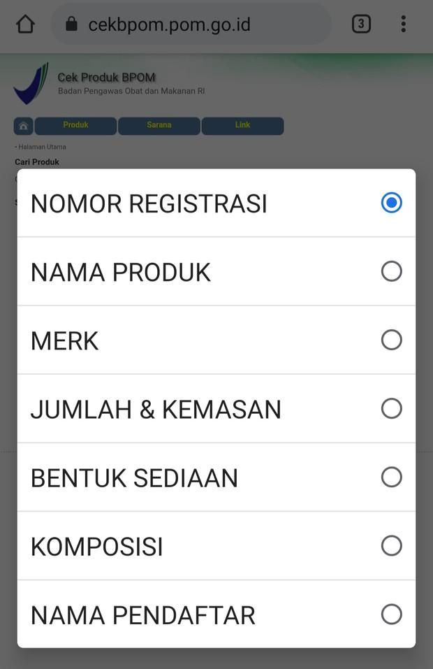 Cara mengecek produk yang terdaftar di BPOM (Screenshot/Citra Dewi)