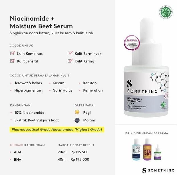 Penjelasan detil produk Somethinc Niacinamide + Moiture Beet serum.