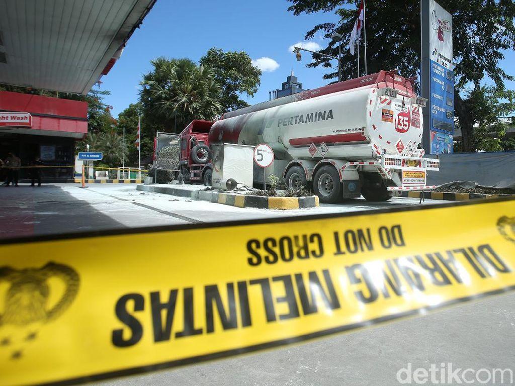Polisi Ungkap Kronologi Truk Tangki Terbakar di SPBU MT Haryono