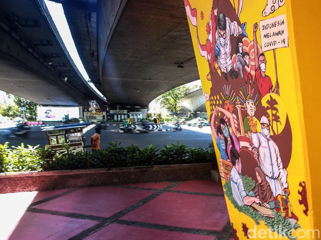 Mural Lawan Corona Hiasi Kolong Tol Tomang
