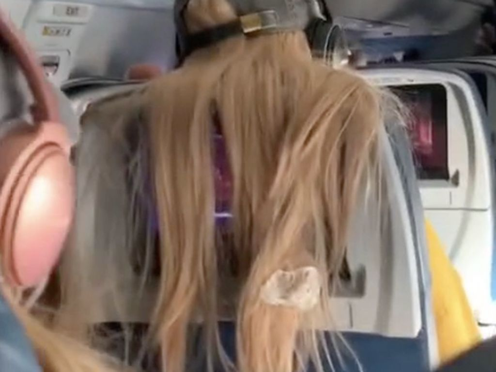 Viral, Rambut Penumpang Pesawat Ditempeli Permen Karet Gegara Halangi TV