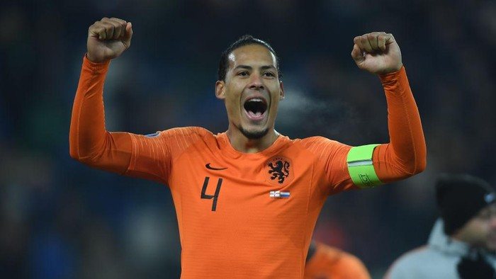 BELFAST, NORTHERN IRELAND - NOVEMBER 16: Virgil van Dijk of Netherlands celebrates at the end of the UEFA Euro 2020 qualifier between Northern Ireland  and The Netherlands at Windsor Park on November 16, 2019 in Belfast, Northern Ireland. (Photo by Mike Hewitt/Getty Images)