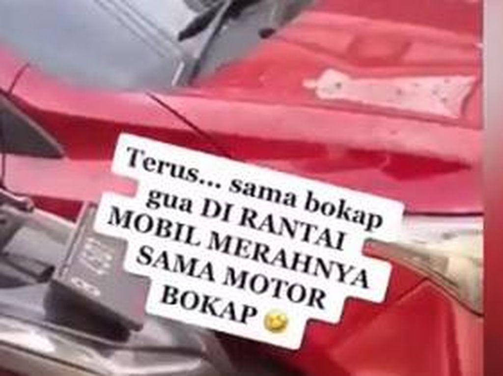 Viral Mobil Parkir Sembarangan Depan Rumah Orang, Biar Kapok Dirantai Pakai Motor