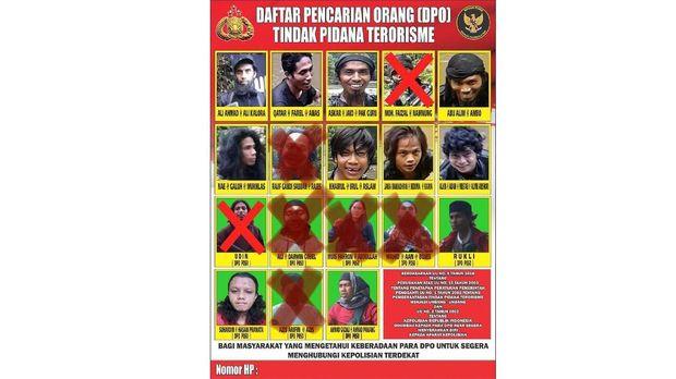 Polri merilis foto dari wajah 11 buron yang masuk daftar pencarian orang (DPO) terkait kasus dugaan tindak pidana terorisme yang tergabung dalam jaringan Mujahidin Indonesia Timur (MIT) Poso.