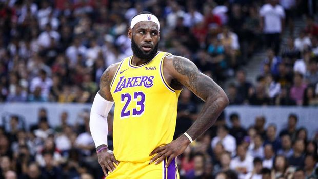 SHENZHEN, CHINA - OCTOBER 12: LeBron James #23 of the Los Angeles Lakers reacts during the match against the Brooklyn Nets during a preseason game as part of 2019 NBA Global Games China at Shenzhen Universiade Center on October 12, 2019 in Shenzhen, Guangdong, China. (Photo by Zhong Zhi/Getty Images)