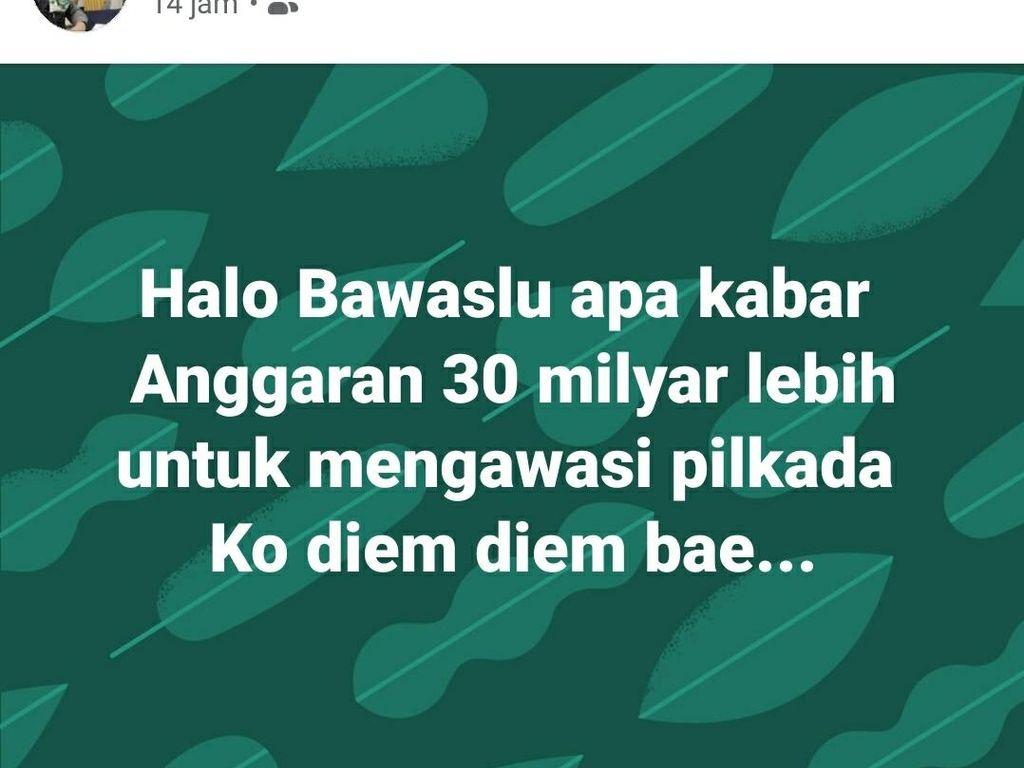Kritik Bawaslu, Anggota DPRD Sukabumi: Anggaran Rp 30 M Diem-diem Bae