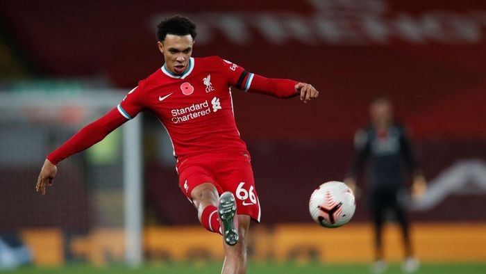 LIVERPOOL, ENGLAND - OCTOBER 31: Trent Alexander-Arnold of Liverpool in action during the Premier League match between Liverpool and West Ham United at Anfield on October 31, 2020 in Liverpool, England. Sporting stadiums around the UK remain under strict restrictions due to the Coronavirus Pandemic as Government social distancing laws prohibit fans inside venues resulting in games being played behind closed doors. (Photo by Clive Brunskill/Getty Images)