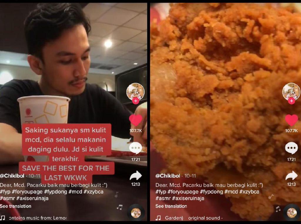 Idaman! Pria Ini Rela Beri Kulit Ayam Goreng Favoritnya Buat Pacar