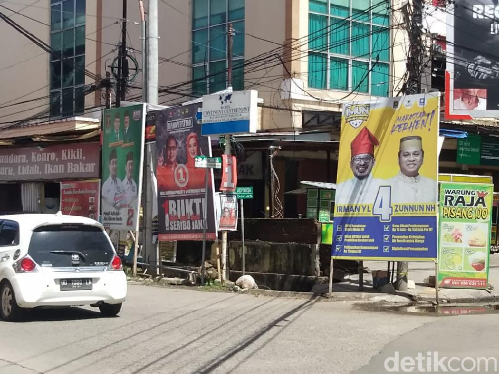 Pilwalkot Makassar Masuk Masa Tenang, Baliho Paslon Masih Bertebaran