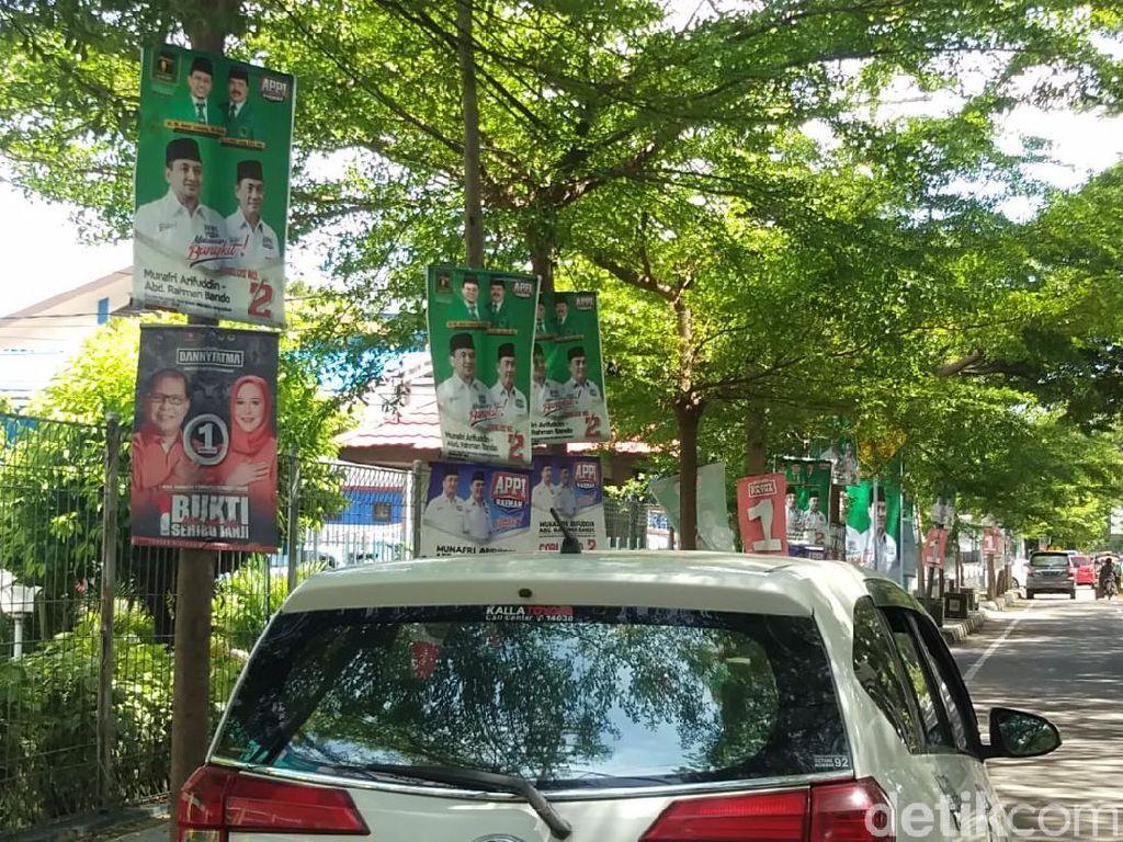 Penampakan Baliho Paslon Pilwalkot Makassar Bertebaran di Masa Tenang