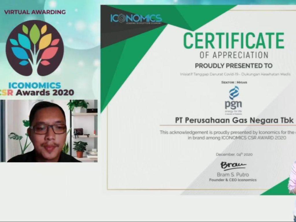 PGN Sabet Penghargaan Iconomics CSR Awards 2020