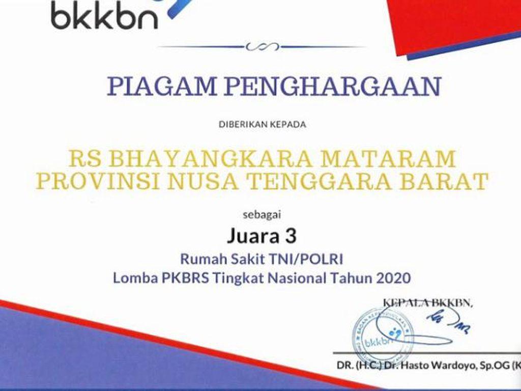 Layanan KB RS Bhayangkara Mataram Raih Juara 3 di Kompetisi BKKBN