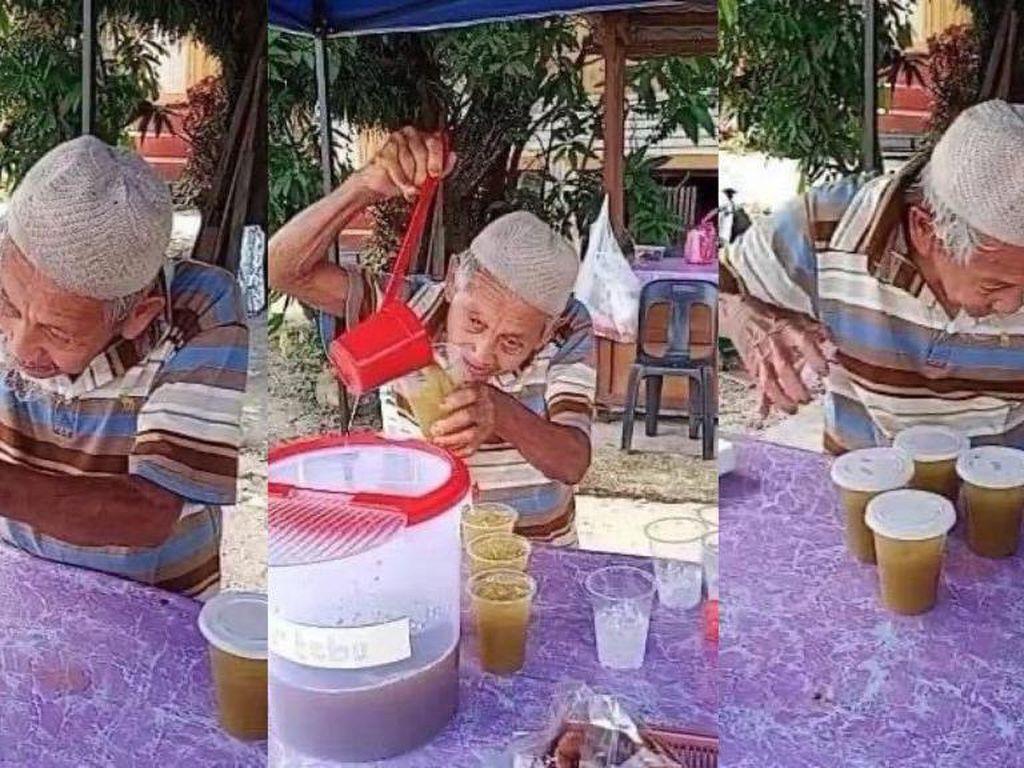 Tetap Semangat Jualan Air Tebu, Kakek Ini Dapat Pujian dari Netizen