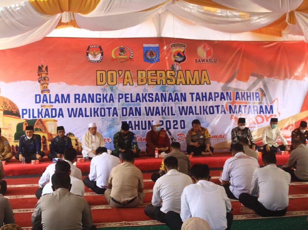 Polresta Mataram Gelar Doa & Zikir Jelang Pilkada Bareng 4 Paslon