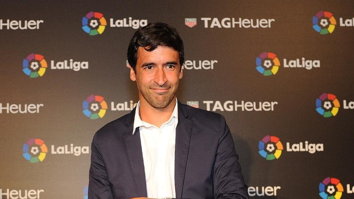 MADRID, SPAIN - JULY 13:  Raul Gonzalez, former Real Madrid player and country manager of La Liga in the U.S. poses for a photo before the start of the press conference to announce TAG Heuer as the Official Timekeeper and Official Sponsor of La Liga at the Royal Theatre on July 13, 2016 in Madrid, Spain.  (Photo by Denis Doyle/Getty Images for Tag Heuer)